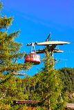 Zermatt, Switzerland - August 24, 2016: Cable car in Zermatt highland, Valais canton in Switzerland in summer. Zermatt, Switzerland - August 24, 2016: Cable car stock photography