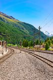 Zermatt, Switzerland - August 24, 2016: Railway train station and landscape in Zermatt, Valais, Swiss. Zermatt, Switzerland - August 24, 2016: Railway train stock photography