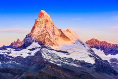 Zermatt, Switzerland. East and north faces of the Matterhorn at sunrise stock photos