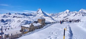 ZERMATT, SWITZERLAND - MARCH 8, 2018: View from Gornergrat on th Stock Images