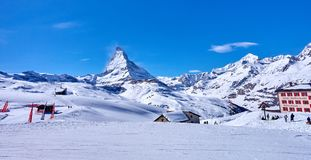 ZERMATT, SWITZERLAND - MARCH 8, 2018: View from Gornergrat on th Royalty Free Stock Photos