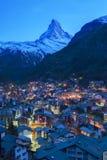 Zermatt, Switzerland. Zermatt and Matterhorn. Image of Zermatt and the Matterhorn taken during twilight blue hour stock image