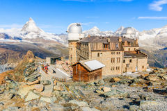 Zermatt, Switzerland. View of Gornergrat and Matterhorn stock photos