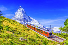 Zermatt, Switzerland. Gornergrat tourist train with Matterhorn mountain in the background. Valais region stock photography
