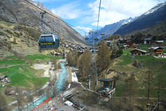 Zermatt view from the Cable Car Ride from Klein Matterhorn Royalty Free Stock Photography