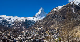 Zermatt village with Matterhorn Peak in background Stock Photos