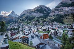 Zermatt village with peak of Matterhorn in Swiss Alps. Famous Zermatt village with peak of Matterhorn in Swiss Alps royalty free stock image