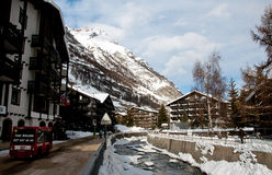 Zermatt village in winter scene Stock Images