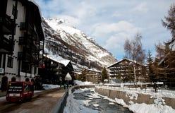 Zermatt village in winter scene Stock Images