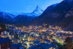 Zermatt, Zwitserse Hotels Switzerland Stock Afbeelding