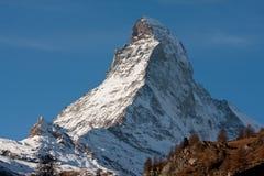 Zermatta马塔角山在瑞士 免版税库存照片