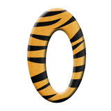 Zero. In tiger skin on white backgrounf Stock Photography