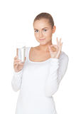 Zero calories. Attractive woman with glass of water on isolated white Stock Photos