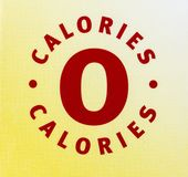Zero calories nutrition food drink label diet. Dietary sign typography type letters message stock illustration