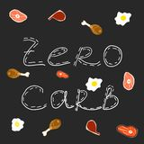 Zero carb hand drawing text. white text on black background. carnivore diet elements. chicken, meat, steak and fry eggs. Vector illustration royalty free illustration