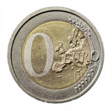 Zero coin. Zero euro coin without value royalty free stock images