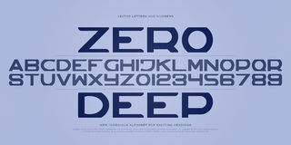 Zero deep. Set of stylish alphabet letters and numbers. vector contemporary, bold font type. modern entertainment typeface design. decorative typesetting Stock Image