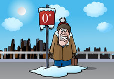 Zero degree sign. Illustration of a man look at a zero degree sign board on winter Royalty Free Stock Image
