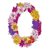 Zero digit made of different flowers. Floral element of colorful alphabet made from flowers. Vector illustration. Zero digit made of different flowers. Floral Stock Photos