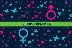 Zero Discrimination Day Illustration with butterfly and gender sign with both side stock illustration