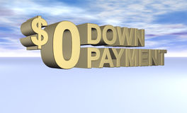 Zero Down Payment Concept. 3d rendered zero dollar down payment with sky clouds background Stock Image