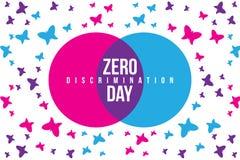 Zero dyskryminacja dnia ilustracji z motyla i dwa skrzyżowań okręgiem z różnym kolorem zdjęcie stock
