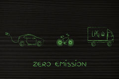 Zero emission vechicles: bike, lpg truck and electric car Stock Photos