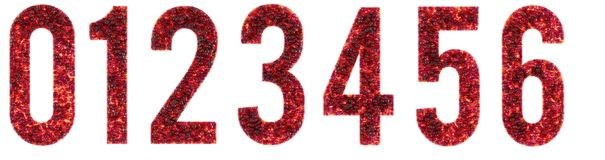 Zero en två tre fyra fem sex 0, 1, 2, 3, 4, 5, 6 bubblor, framförda siffror för exponeringsglas 3D Arkivfoton
