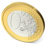Zero euro ninety-nine coin from above Stock Photos