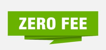 Zero fee. Sign.  paper origami speech bubble.  tag.  banner Stock Illustration