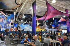 Zero-G Diner Food Court at Space Center Houston in Texas. USA royalty free stock image