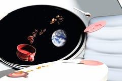 Zero gravity. Scene of the cup in zero gravity Stock Image