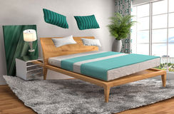 Zero gravity bed hovering in living room. 3d illustration Stock Photography