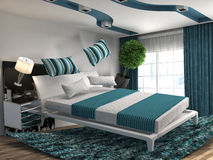 Zero gravity bed hovering in living room. 3d illustration Royalty Free Stock Photography