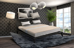 Zero gravity bed hovering in living room. 3d illustration Stock Photos