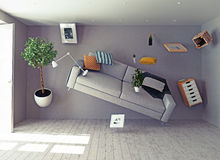 Zero-gravity interior. 3d creative concept vector illustration