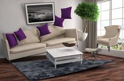Zero Gravity Sofa hovering in living room. 3D Illustration Royalty Free Stock Image
