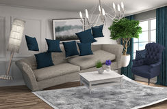 Zero Gravity Sofa hovering in living room. 3D Illustration Royalty Free Stock Photography