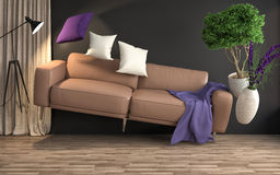 Zero Gravity Sofa hovering in living room. 3D Illustration Royalty Free Stock Images