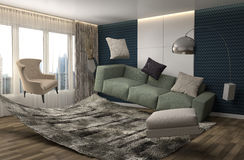 Zero Gravity Sofa hovering in living room. 3D Illustration Stock Image