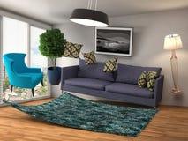 Zero Gravity Sofa hovering in living room. 3D Illustration Royalty Free Stock Photo