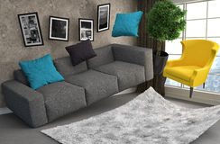 Zero Gravity Sofa hovering in living room. 3D Illustration Royalty Free Stock Photos