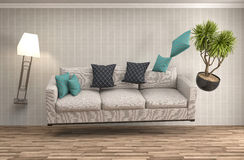 Zero Gravity Sofa hovering in living room. 3D Illustration Royalty Free Stock Image