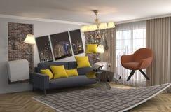 Zero Gravity Sofa hovering in living room. 3D Illustration stock illustration
