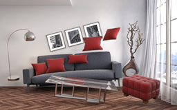 Zero Gravity Sofa hovering in living room. 3D Illustration Stock Photos