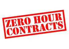 ZERO HOUR CONTRACTS. Red Rubber Stamp over a white background Royalty Free Stock Photos