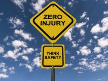Zero injury Think safety. A warning sign on a blue sky background with the text 'Zero Injury / Think Safety royalty free illustration