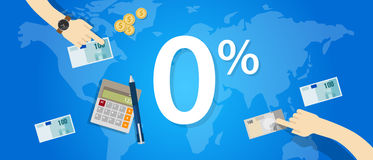 Zero interest percent 0 promo rate discount number buy price banking loan Royalty Free Stock Image