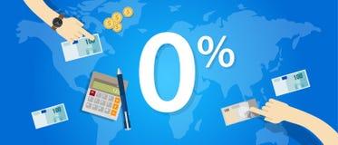 Zero interesu procentu (0) promo tempa rabata liczby zakupu ceny bankowości pożyczka Obraz Royalty Free