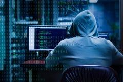 Zero jeden hackera cyfrowania zdjęcie royalty free